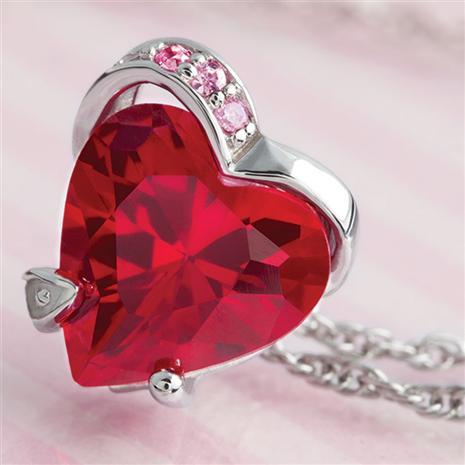 Scienza Ruby & Diamondaura Heart Pendant