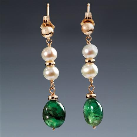 Delfina Emerald & Cultured Pearl Earrings