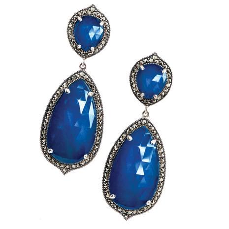 Fidelity Doublet Sapphire & Marcasite Earrings
