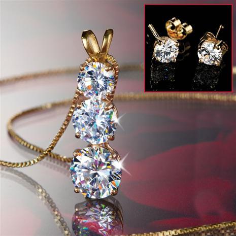 Palisade DiamondAura 3-Stone Necklace, Chain & Stud Earrings Set