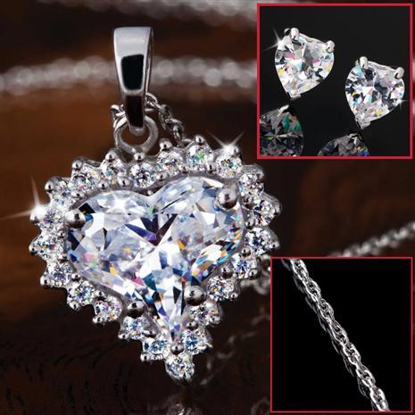 True Heart Pendant, Chain & Earrings Set