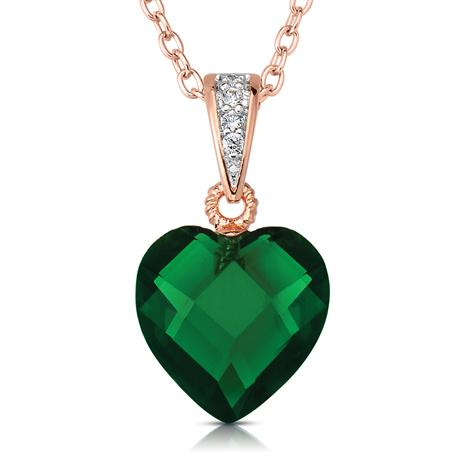Rock of Love DiamondAura Green Heart Pendant