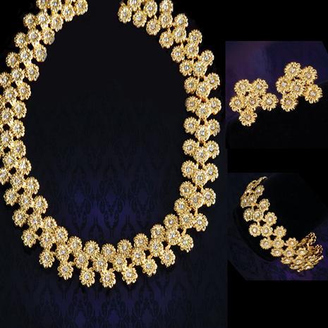 Golden Sunflower Necklace, Earrings & Bracelet Set