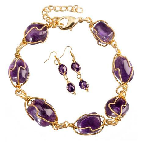 Liberte Amethyst Bracelet & Earrings Set