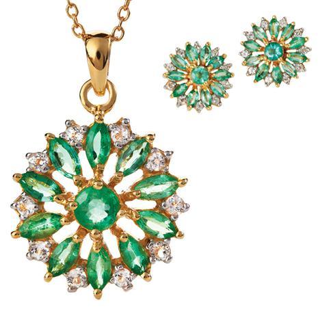 Zambian Emerald Blossom Necklace & Earrings Set