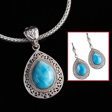 Larimar Sensation Necklace & Earrings Set