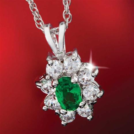 Diamond Aura Green Blossom Pendant