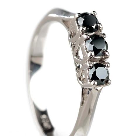 Noire Black Diamond 3 Stone Ring