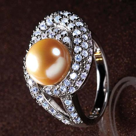 Golden Cultured Pearl & Diamond Aura Ring