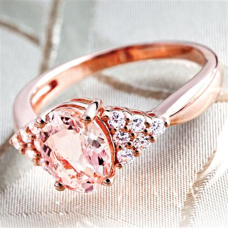 Morganite & Diamond Aura Ring