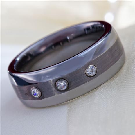 Mens Trinity Tungsten & DiamondAura Ring