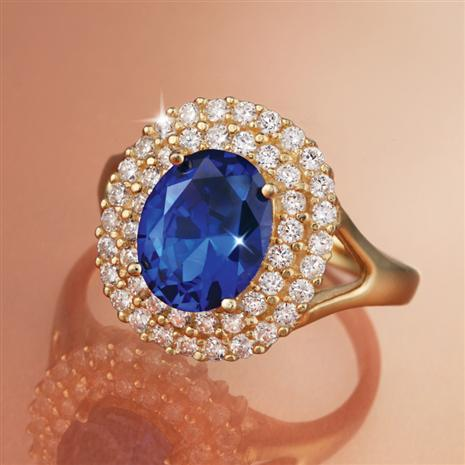 Magical Blue Diamond Aura Ring