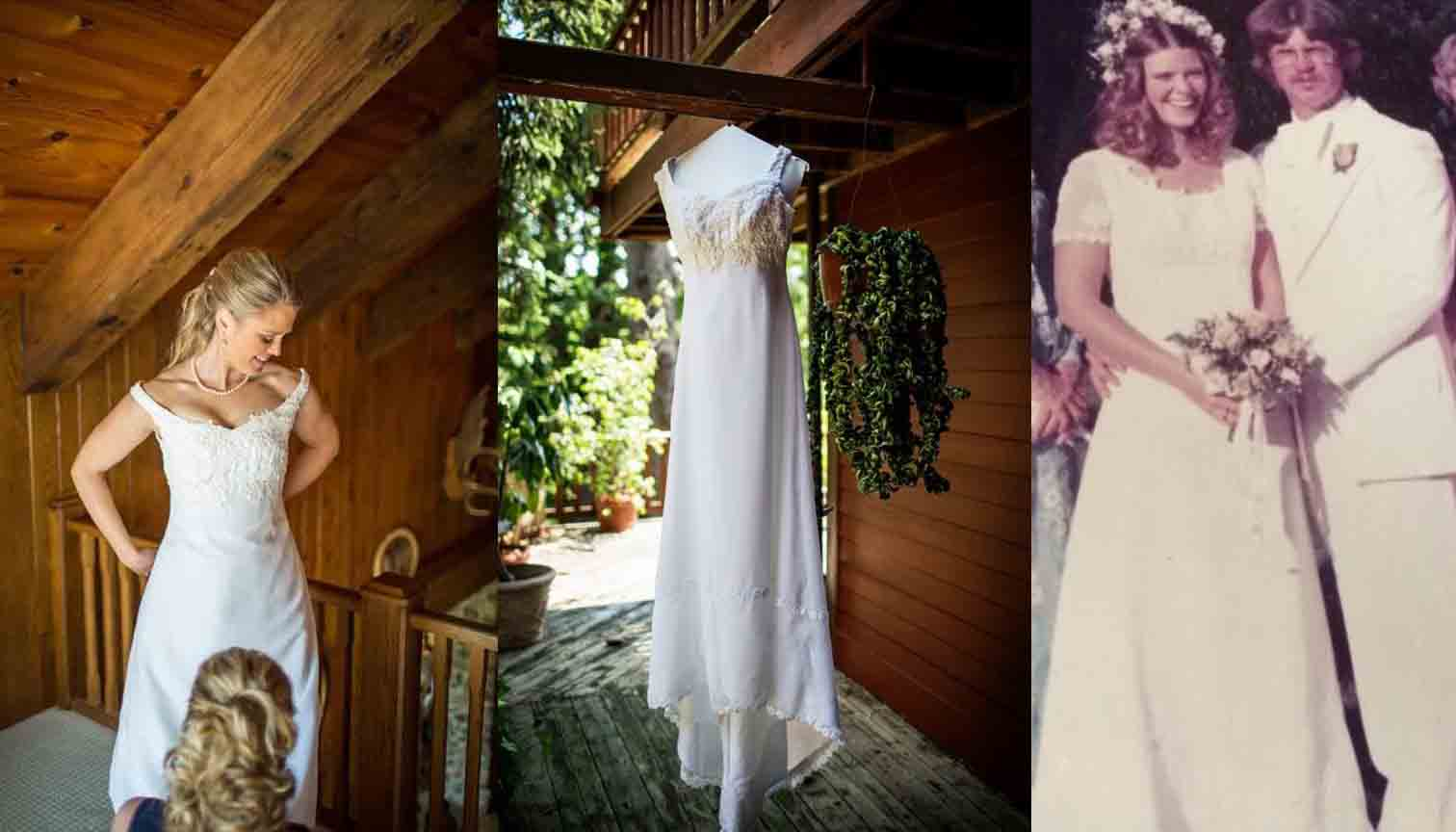 nicholes wedding gown preservation preserving wedding dress Pictured above is Nichole s redesigned dress left middle and her Mother in the original right