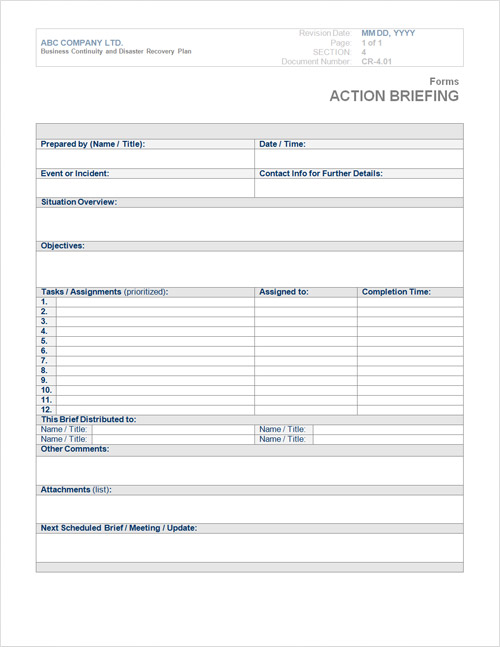 Business Continuity Plan Template Form Steamwire