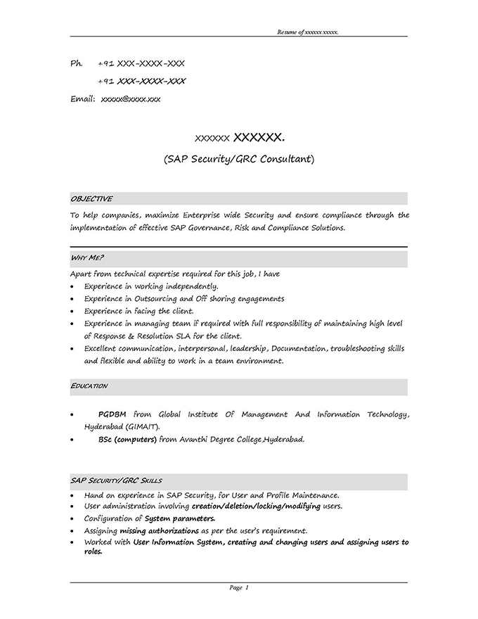 SAP GRC Security Sample Resume 310 years experience