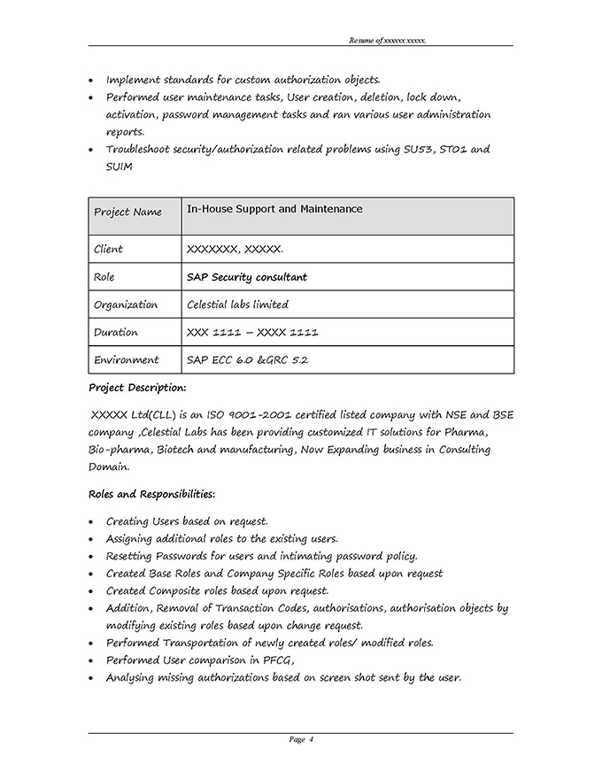 SAP GRC Security Sample Resume 310 years experience - user experience consultant sample resume