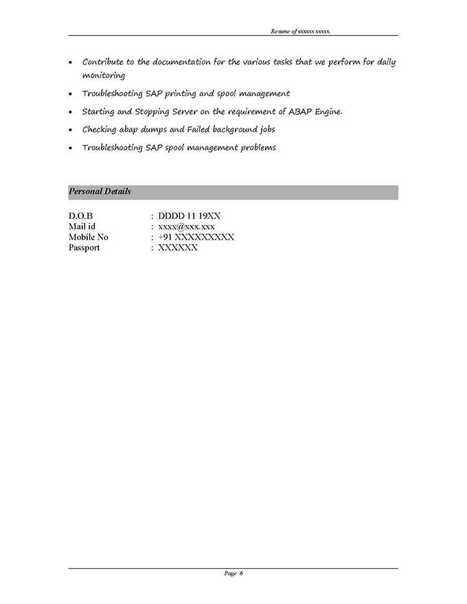 SAP GRC Security Sample Resume 310 years experience