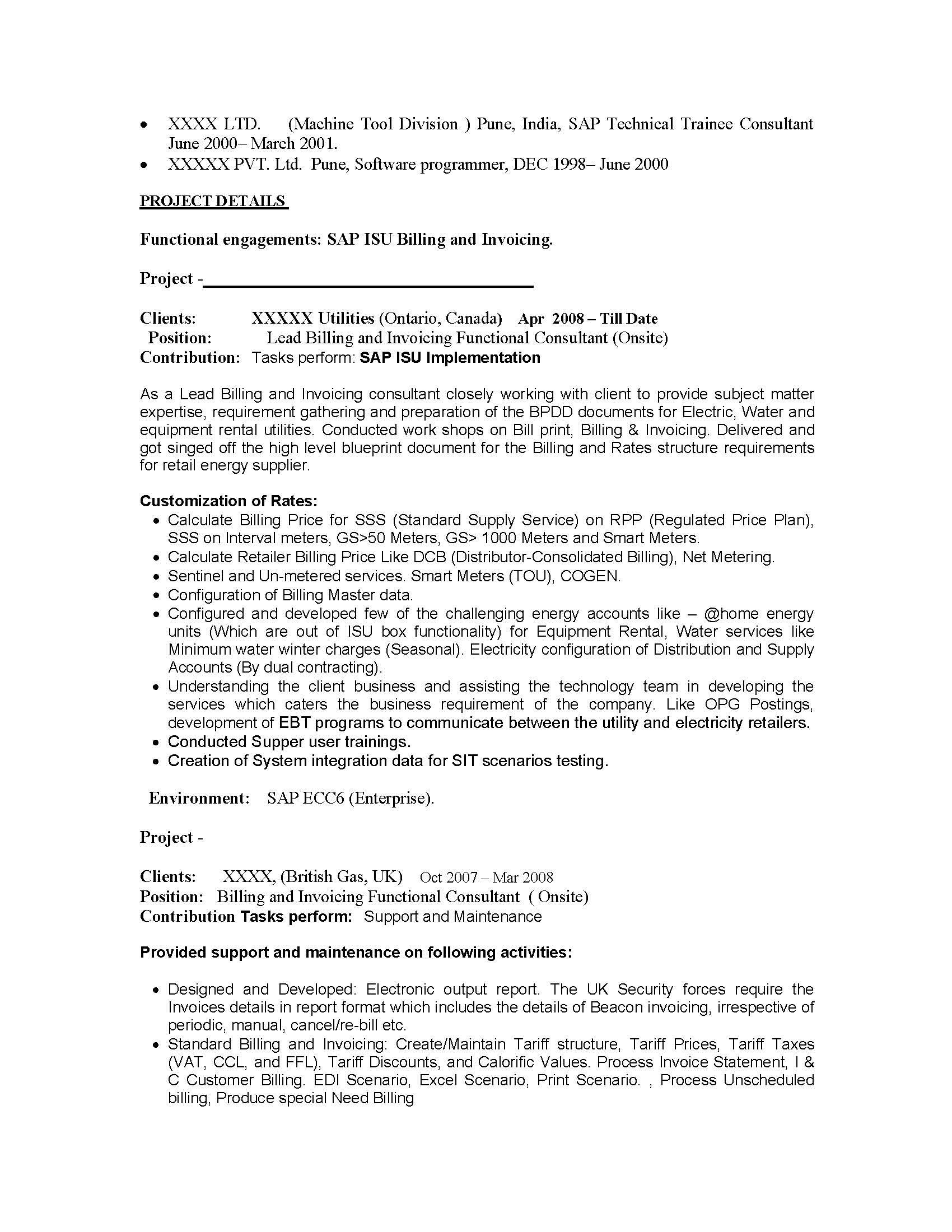 Sap Pp Consultant Resume Sample | Post Internship Thank You Letter ...