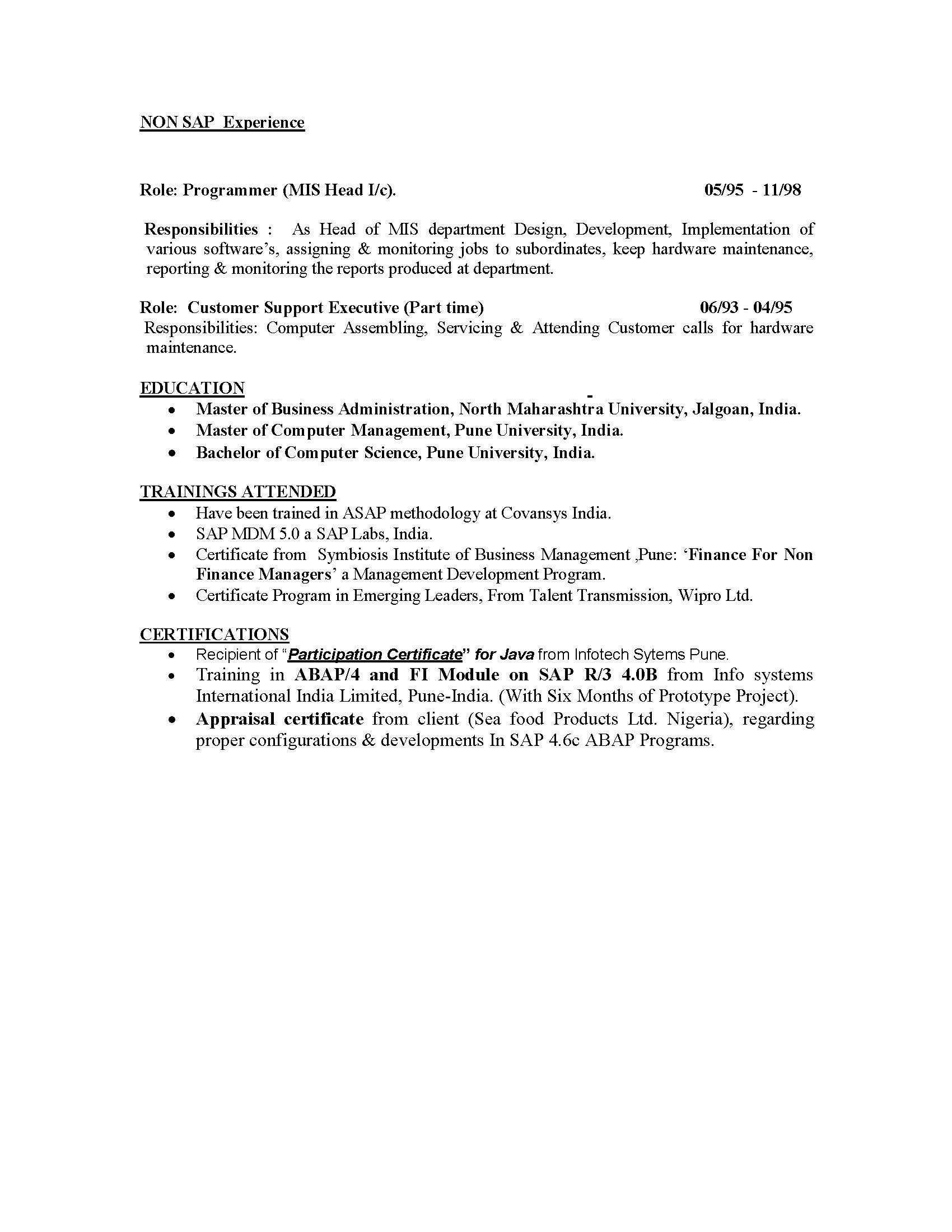 business consultant resume india