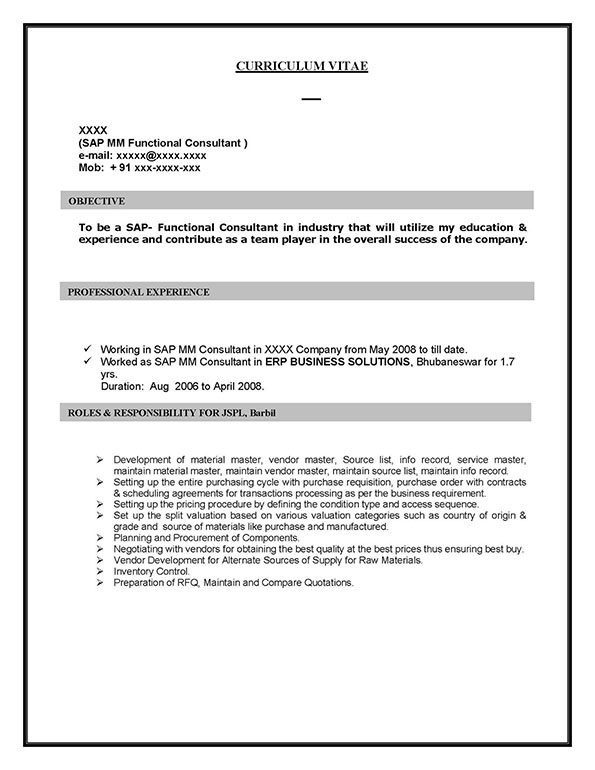SAP MM (Materials Management) Sample Resume 1000 years experience