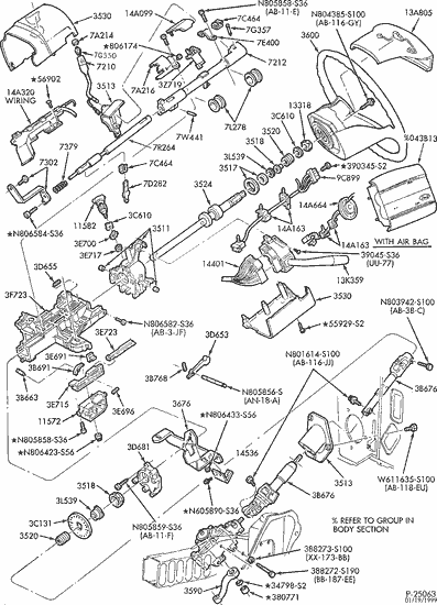 97 ford steering column diagram
