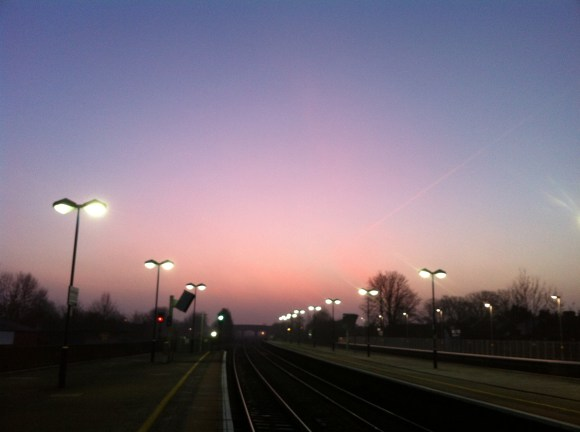 Sunrise in London, England - reminding us of our time with the Lord in the morning! Lovely Sunshine and Colorful Sky!