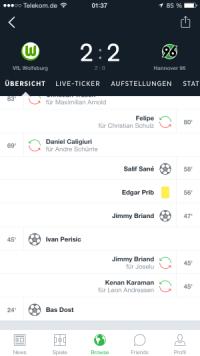Fußball-Liveticker - VFL Wolfsburg gegen Hannover 96