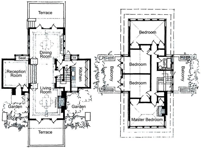 Eric and Pat Pratt House Plan (1951), Frank Lloyd Wright Lloyd - new park blueprint maker
