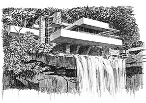 Falling Water House Wallpaper Frank Lloyd Wright