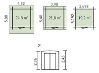 Holzgarage T19 - 44 mm Blockbohlenhaus, Grundflche: 21,80 ...