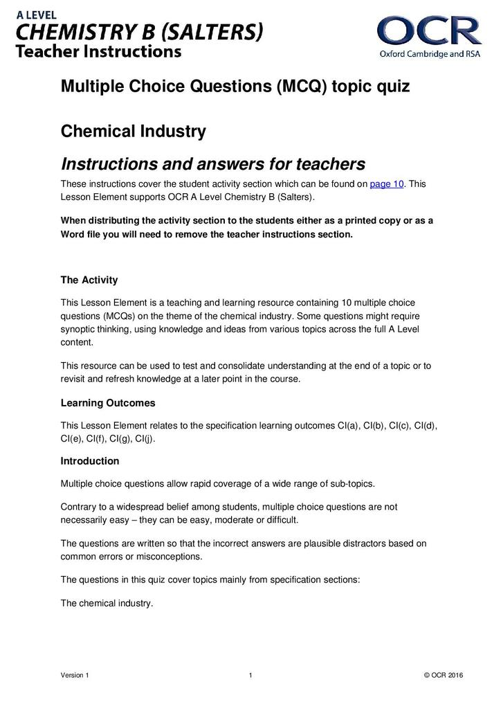 Chemical industry multiple choice quiz STEM