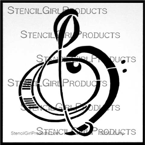 Treble Bass Clef Stencil Nancy Curry StencilGirl Products - base cleff