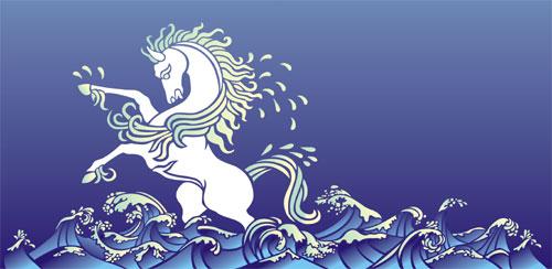 Wild Wave Frieze with white horse Stencil Designs from Stencil Kingdom