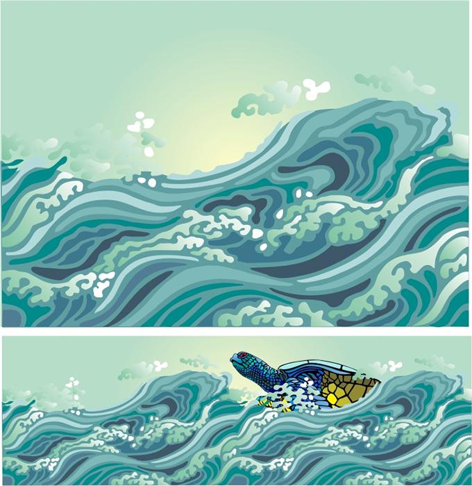 Rough Sea Stencil Designs from Stencil Kingdom