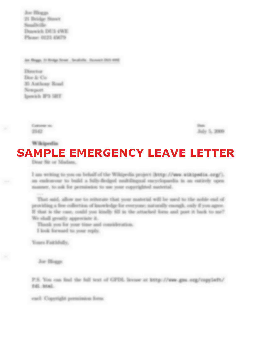 medical leave letter for one day sample resume service medical leave letter for one day sick leave emergencyleaveletterformat how to write an emergency leave