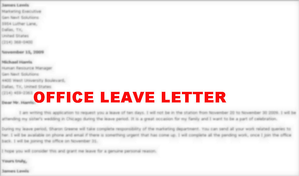 How to write medical leave application letter for college