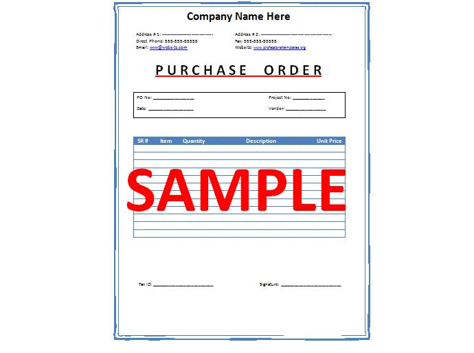 Work Order Letter Format Sample – Purchase Order Letter Format in Word