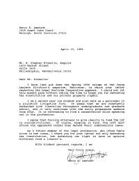 Letter to editor re Legal Services Corporation, Barrister ...