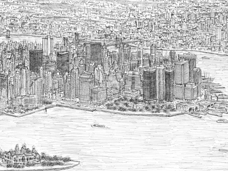 New York Panorama Original Drawings Prints And Limited