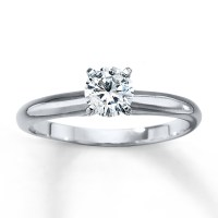 Diamond Solitaire Ring 1/2 carat Round-cut 14K White Gold ...