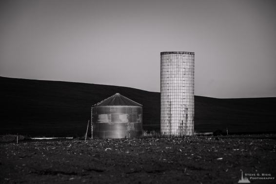 An old and new grain silo in rural Kittitas County near Ellensburg, Washington.