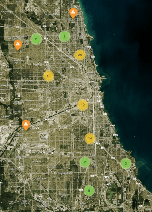 Screenshot of a map showing demolitions across Chicago