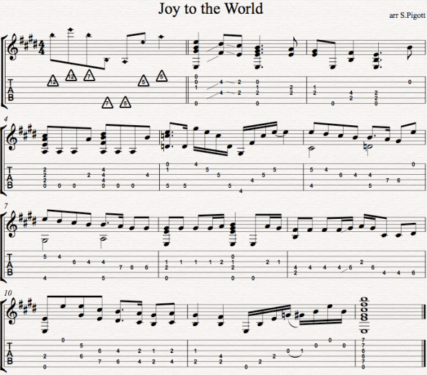Joy to the World TAB and Notation Arrangement
