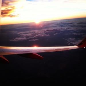 Sunset over Southwest plane wing