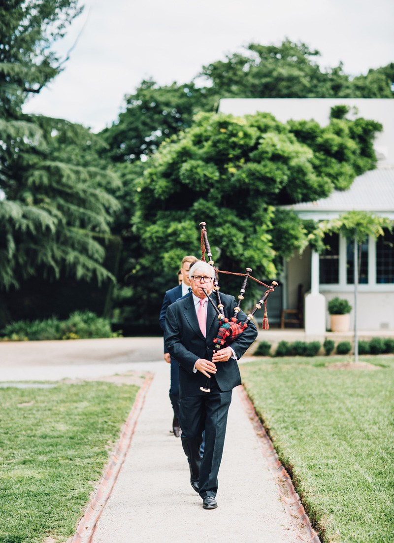 father at wedding bagpipes
