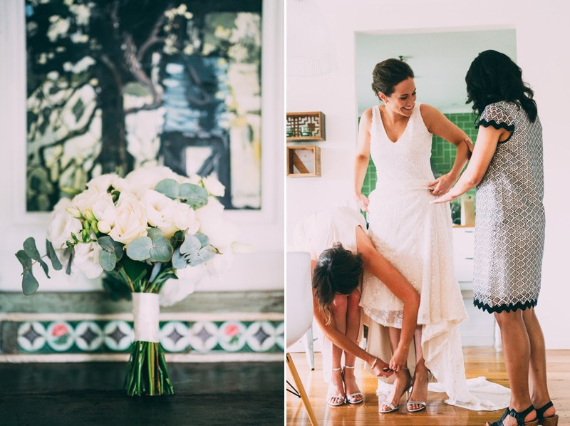 bridesmaids getting ready for wedding in healsville