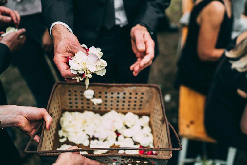 flower petals at wedding ceremony yarra valley