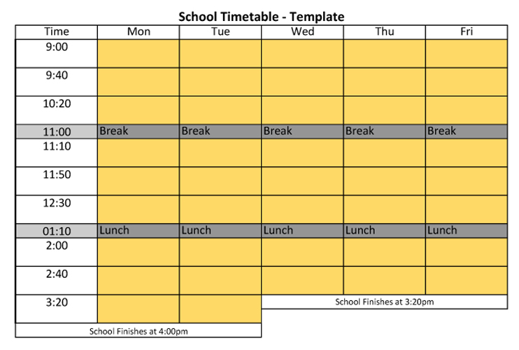 Timetable Template Excel University Timetable Template Best