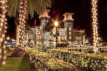 Lightner Museum in holiday lights