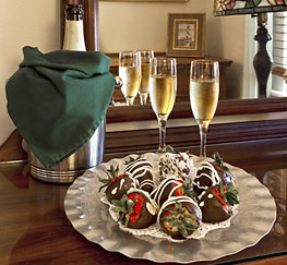 chocolate covered strawberries and champagne